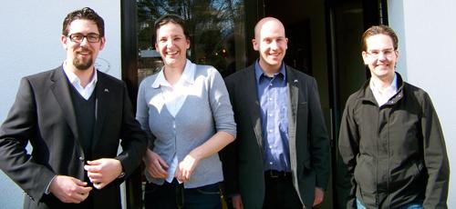 v.l.n.r.: Alexander Schopf, Lena Schneller, Nicolas Marschall, Alain Schreiner